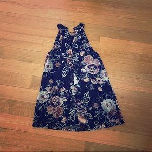 NWT black dress with velvety flowers